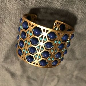 Beaded Abacus Cuff - Gold, Blue, Turquoise